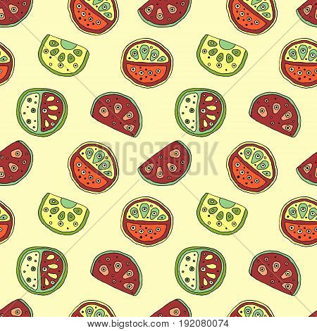 Seamless Vector Hand Drawn Childish Pattern With Fruits. Cute Childlike Watermelon With Leaves, Seed