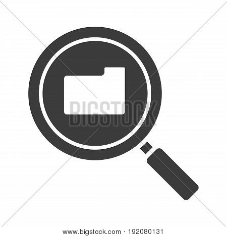 Folder search glyph icon. Silhouette symbol. Magnifying glass. Negative space. Vector isolated illustration