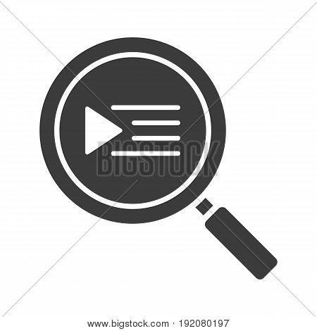 Playlist search glyph icon. Silhouette symbol. Magnifying glass. Negative space. Vector isolated illustration