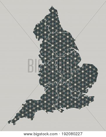 England Map With Stars And Ornaments Including Borders