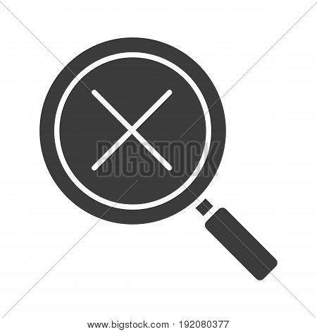 Search cancel glyph icon. Silhouette symbol. Magnifying glass with cross. Negative space. Vector isolated illustration