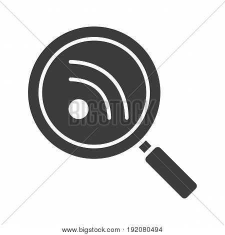 Rss feed search glyph icon. Silhouette symbol. Magnifying glass. Negative space. Vector isolated illustration