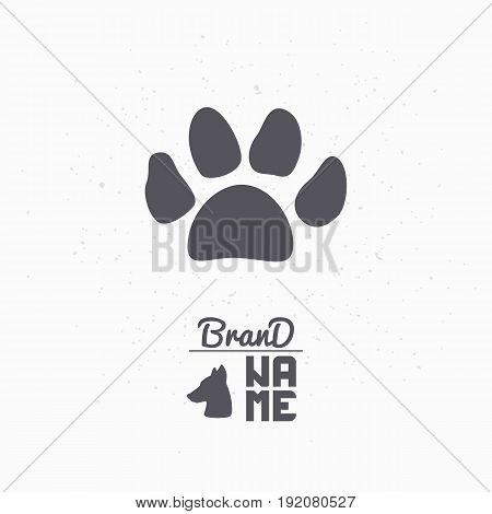 Hand drawn silhouette of paw print. Pet food logo template for craft packaging or brand identity. Vector illustration