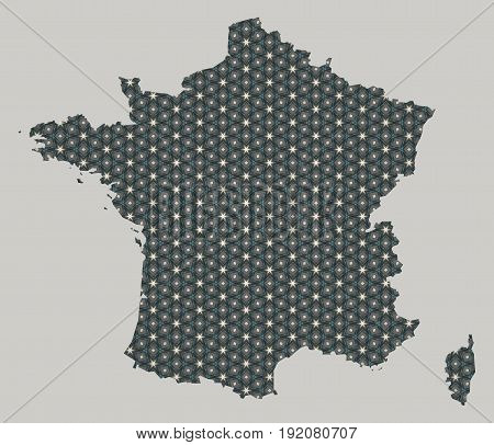 France map with stars and ornaments illustration