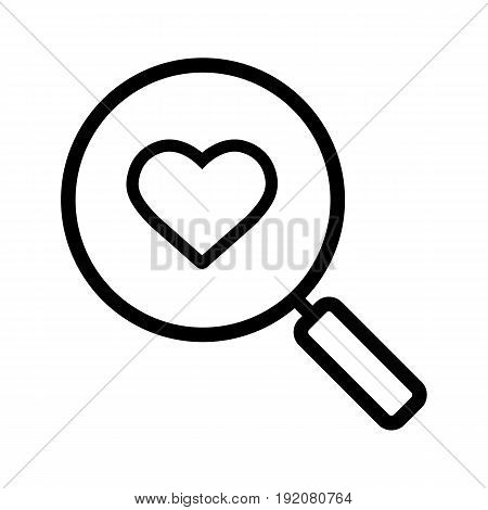 Love search linear icon. Thin line illustration. Magnifying glass with heart shape contour symbol. Vector isolated outline drawing