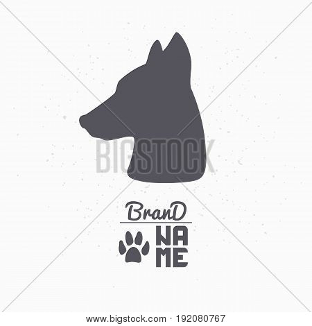 Hand drawn silhouette of dog head. Pet food logo template for craft packaging or brand identity. Vector illustration