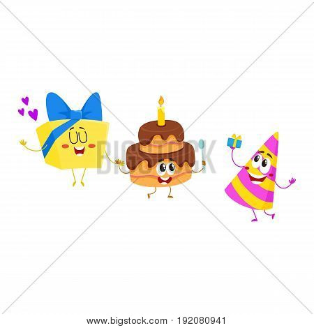 Funny birthday characters - hat, cake, gift box - with smiling human faces, cartoon vector illustration isolated on white background. Birthday party hat, present, gift and cake characters, mascots