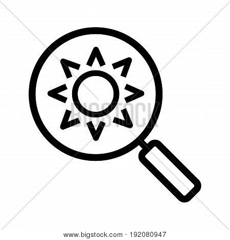 Magnifying glass with sun linear icon. Thin line illustration. Search contour symbol. Vector isolated outline drawing