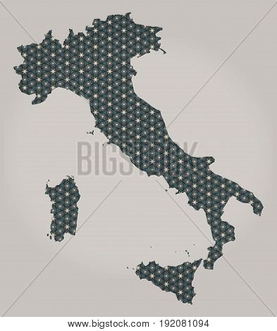 Italy map with stars and ornaments illustration