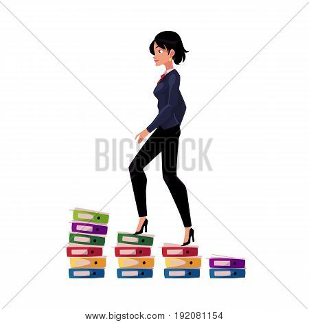 Young pretty businesswoman climbing up career ladder shown as document folder steps, cartoon vector illustration isolated on white background. Folders of documents as corporare career ladder concept