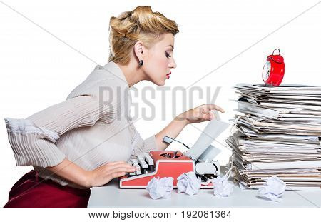 Vintage woman working typewriter color white background