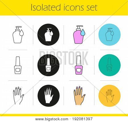 Manicure icons set. Linear, black and color styles. Woman's hand with manicure, nail polish bottle, lotion with drop. Isolated vector illustrations