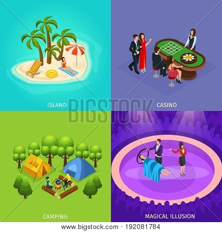 Isometric people recreation concept with tropical beach vacation camping magic show casino and gambling vector illustration