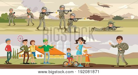 Colorful military horizontal banners with battle attack of air and ground forces and soldier comes home from war vector illustration