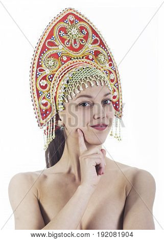 Portrait Of Nude Smiling Girl In A Kokoshnik ( Headdress ) On A White Background.
