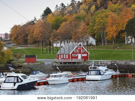 Norwegian Village On The Sea Coast