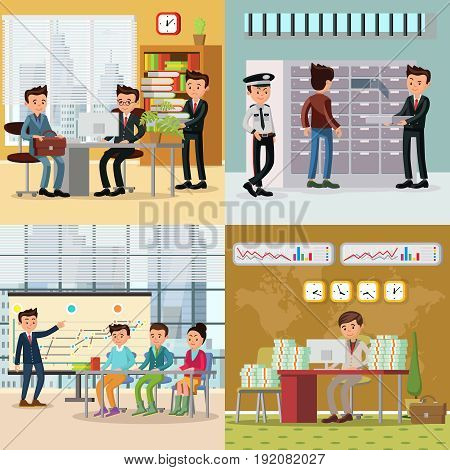 Colorful business concept with negotiations deposit safe rent conference and successful businessman working in office vector illustration