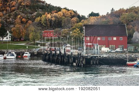 Norwegian Fishing Village On The Sea Coast