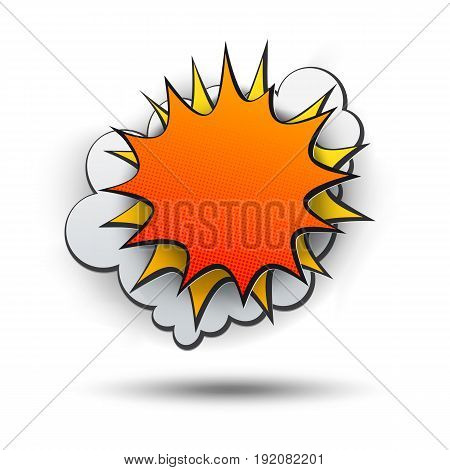 Comic style blast with free space for writing text. Paper art cut effect. Vector paper bubble.