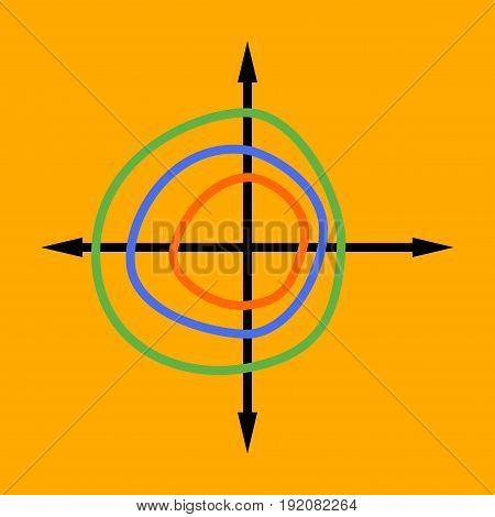 flat icon on stylish background Chart thin circles