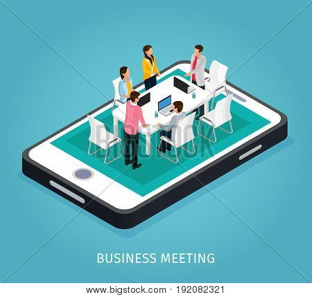 Isometric project management concept with people discussing business issues around table on phone screen isolated vector illustration