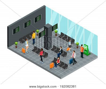 Isometric airport departure lounge concept with passengers waiting for flight boarding vector illustration