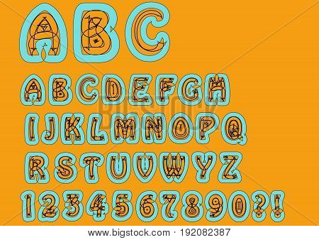 Nonconformist bizarre alphabet. Original font set with doodle elements uppercase characters and numbers question mark exclamation mark. Trendy combination of sky-blue and orange colors