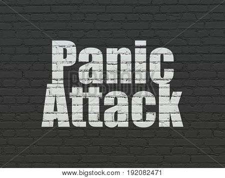 Healthcare concept: Painted white text Panic Attack on Black Brick wall background