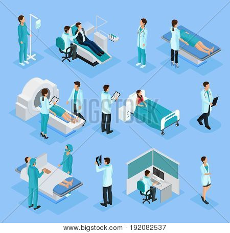 Isometric doctors and patients set with dentist surgery medical examinations and diagnostic procedures isolated vector illustration
