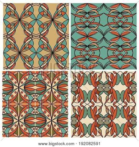 Set of colorful geometric patterned tiles in nostalgic retro colors art deco style. Graphic design element in vector EPS 10.