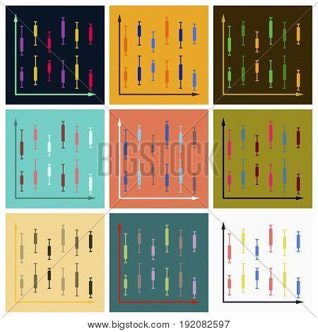 Set of flat icons on stylish background Economic chart
