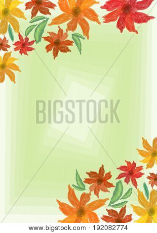 Cheerful grunge spring background with colorful flowers on light green blend area place for own text message. Useful for invitation leaflet poster bill