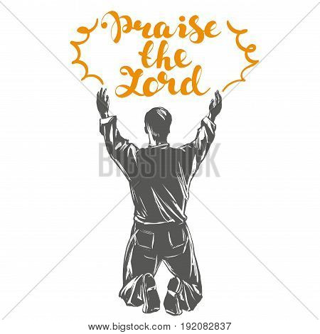 man worships God symbol of Christianity hand drawn vector illustration sketch