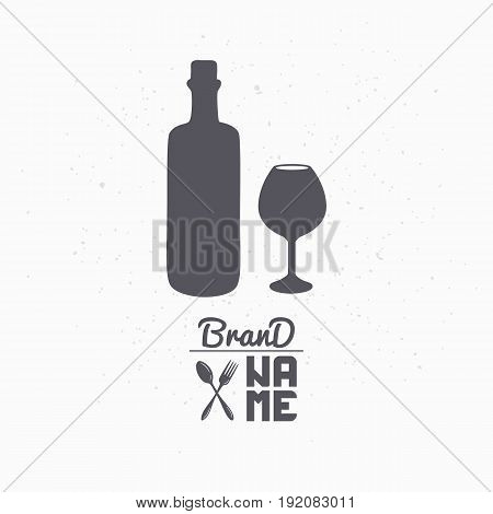 Hand drawn silhouette of wine bottle and glass. Liquor store logo template for craft food packaging or brand identity. Vector illustration