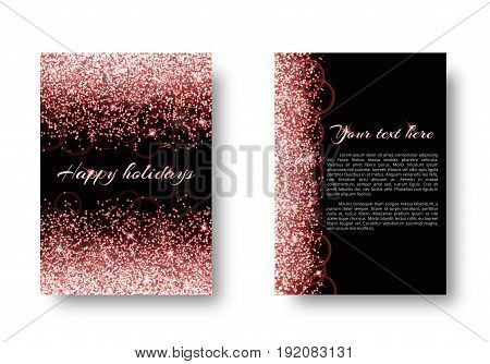 Glitter background with shimmering lights. Particles abstract on a black backdrop.
