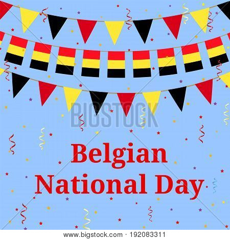 Belgian flag bunting. Background for National day in Belgium.