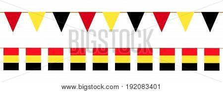 Belgian flag bunting. Clip art isolated on white