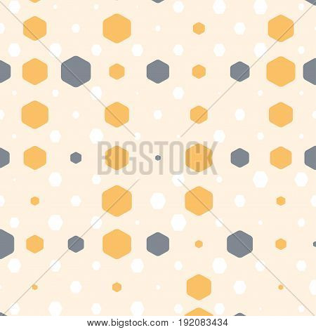 Abstract geometric beige background with hexagons of different colors opacity and size.