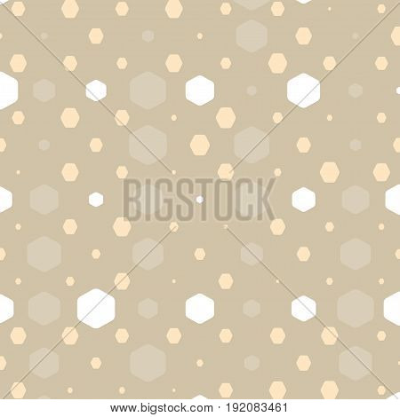 Abstract geometric brown background with hexagons of different colors opacity and size.