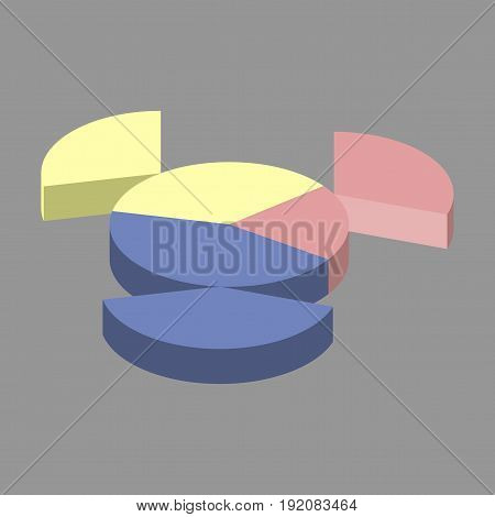flat icon on stylish background Pie chart