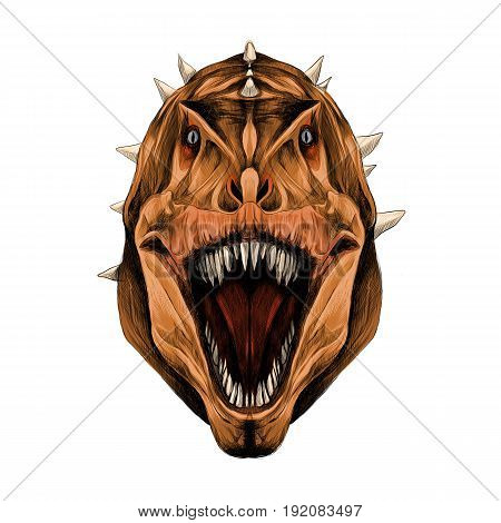 the dinosaur head is symmetrical looks right with an open mouth orange skin color sketch vector graphics color picture