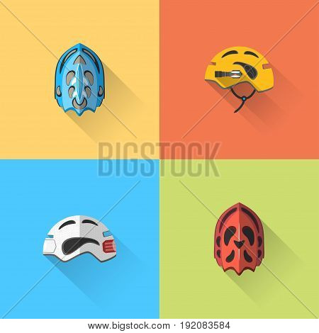Vector set of flat bicycle helmets with long shadow on the color background.