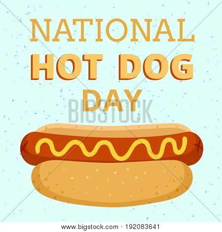 National hot dog day. Retro poster with hot dog
