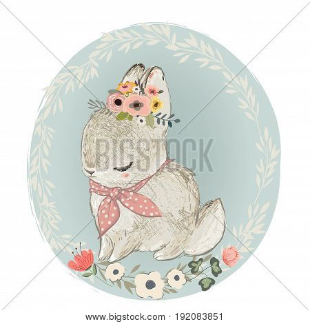 Cute Little Hare with Floral Wreath on the head