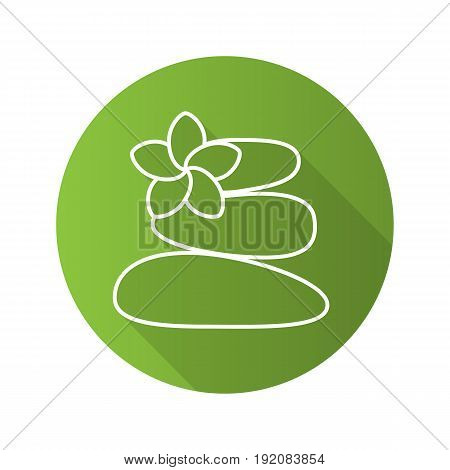 Stones for massage flat linear long shadow icon. Spa salon. Vector line symbol