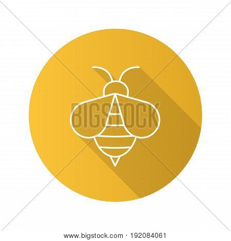 Honey bee flat linear long shadow icon. Wasp. Apiary sign. Vector line symbol