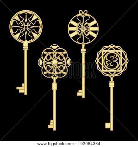 Antigue door key set in golden metallic design with historic ornamental vintage patterns.