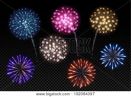 Set of colorful fireworks on dark background