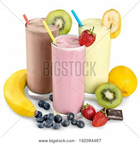 Straws smoothies color white background nobody isolated
