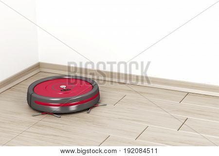 Cleaning the floor with robot vacuum cleaner, 3D illustration
